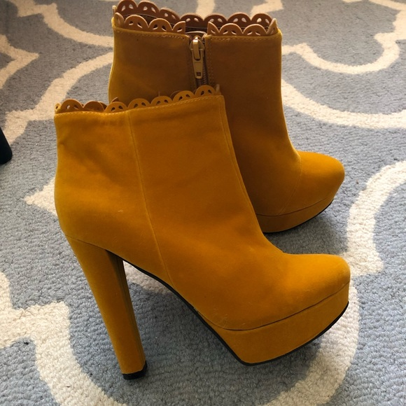Qupid Shoes | Mustard Yellow Booties